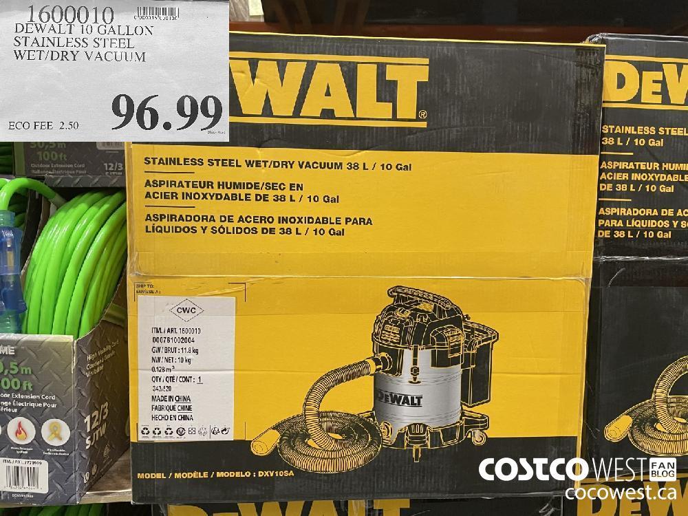 1600010 DEWALT 10 GALLON STAINLESS STEEL WET/DRY VACUUM $96.99
