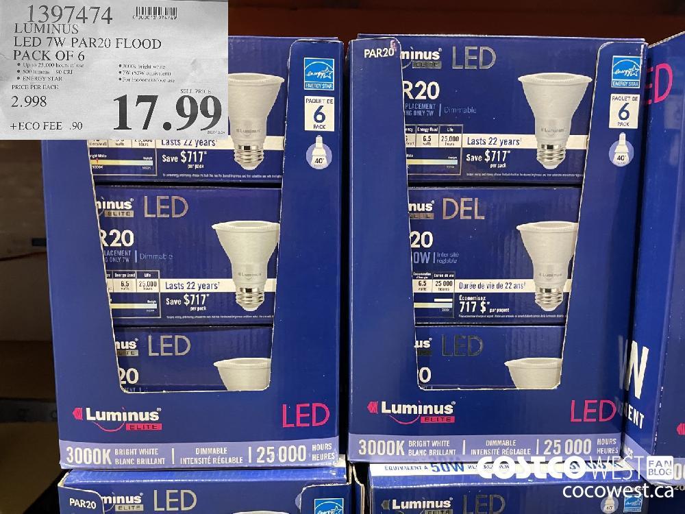 1397474 LUMINUS LED 7W PAR20 FLOOD PACK OF 6 $17.99
