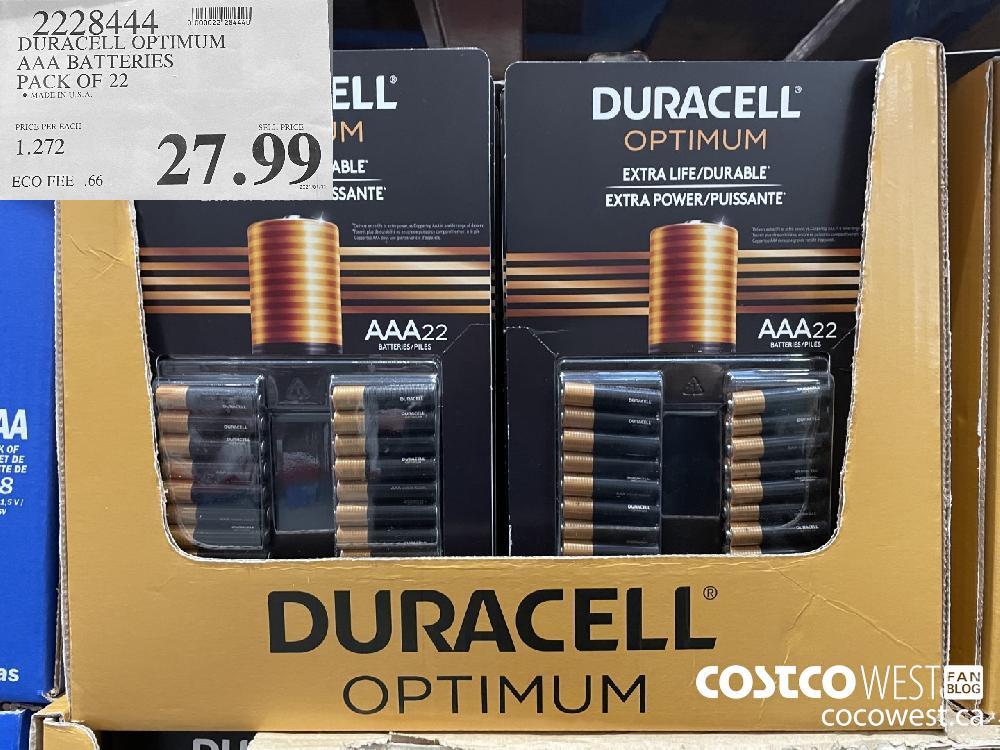 2228444 DURACELL OPTIMUM AAA BATTERIES PACK OF 22 $27.99