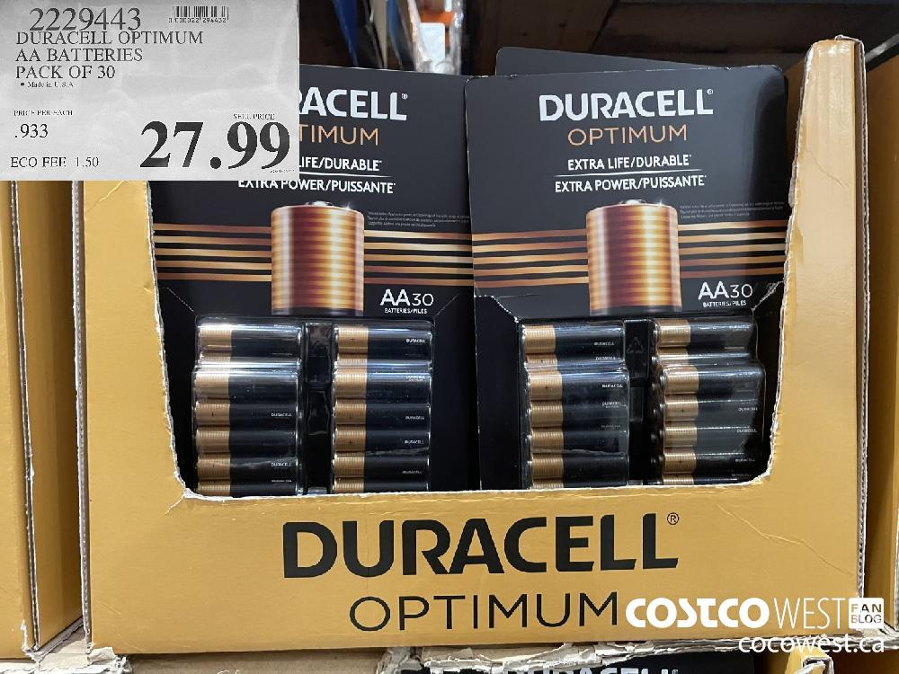 2229443 DURACELL OPTIMUM AA BATTERIES PACK OF 30 $27.99