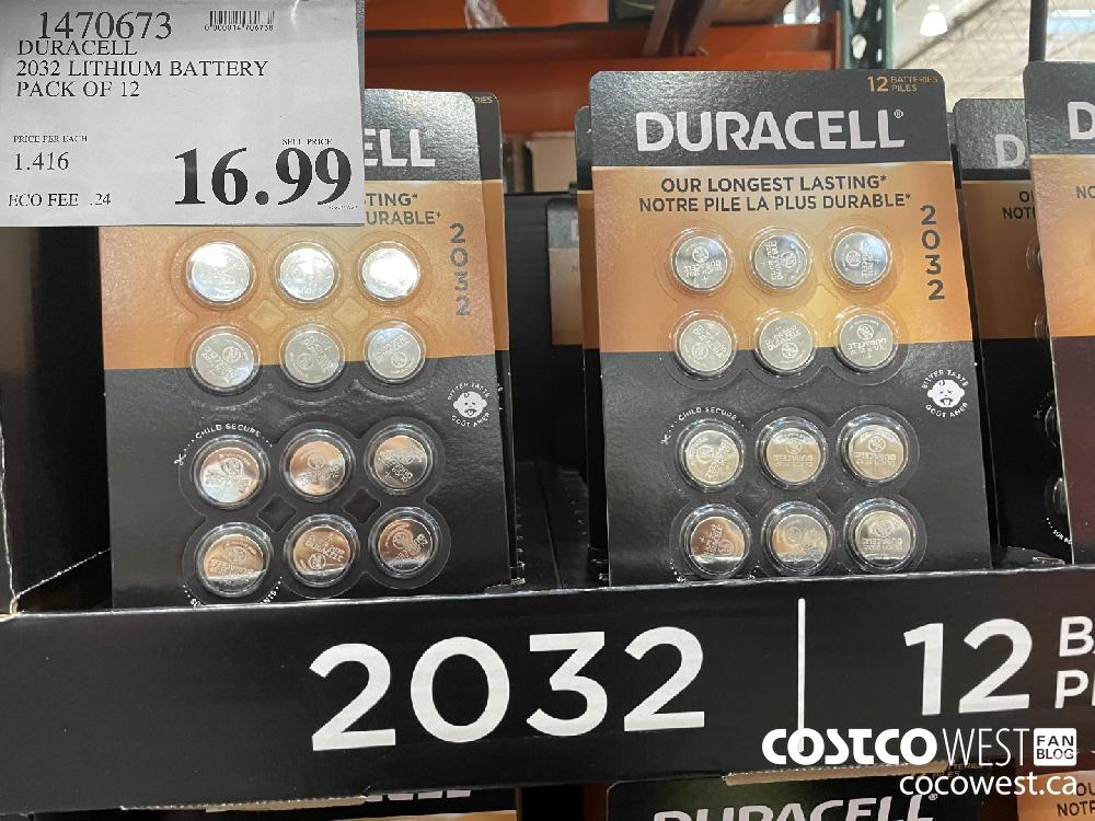 1470673 DURACELL 2032 LITHIUM BATTERY PACK OF 12 $16.99