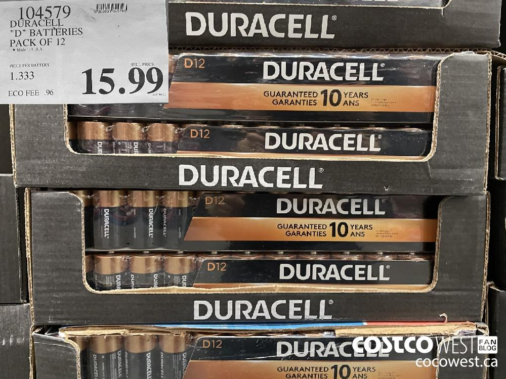 """104579 DURACELL """"D"""" BATTERIES PACK OF 12 $15.99"""