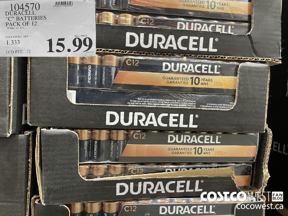 """104570 DURACELL """"C"""" BATTERIES PACK OF 12 $15.99"""