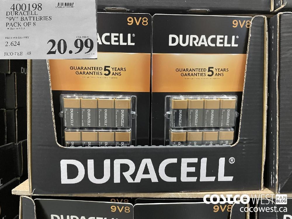 "400198 DURACELL ""9V"" BATTERIES PACK OF 8 $20.99"