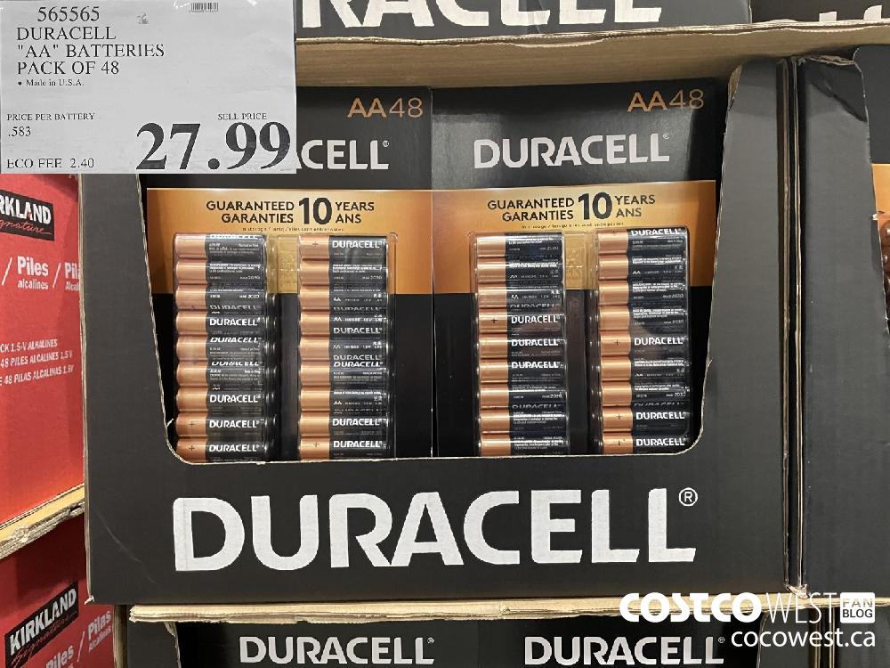 """565565 DURACELL """"AA"""" BATTERIES PACK OF 48 $27.99"""