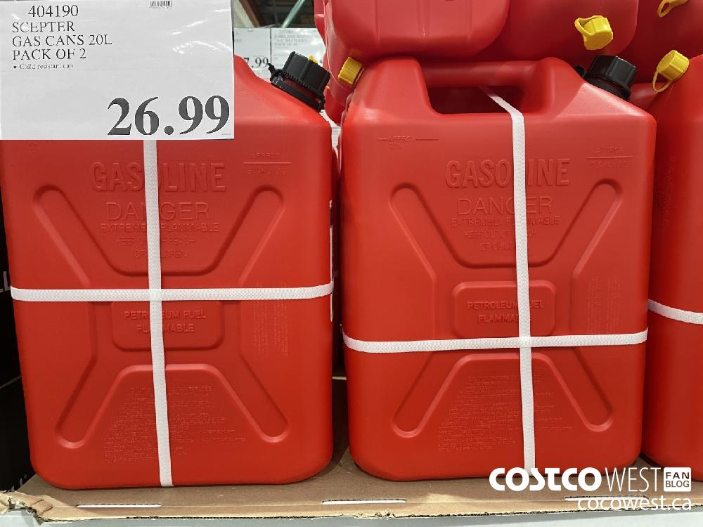 404190 SCEPTER GAS CANS 20L PACK OF 2 $26.99