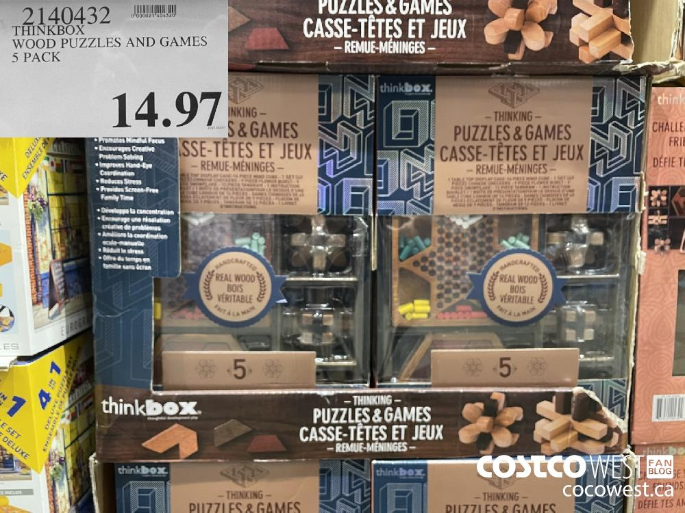 2140432 THINKBOX WOOD PUZZLES AND GAMES $14.97