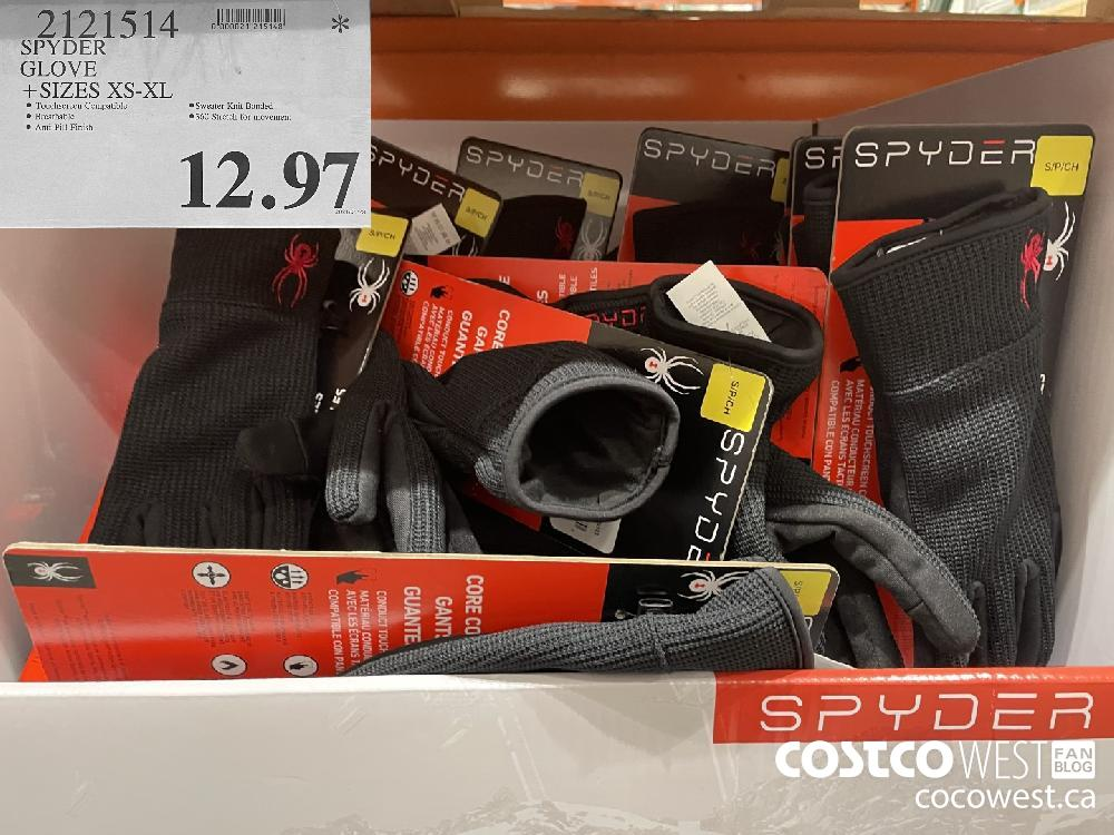221914 SPYDER GLOVE SIZES XS-XL $12.97