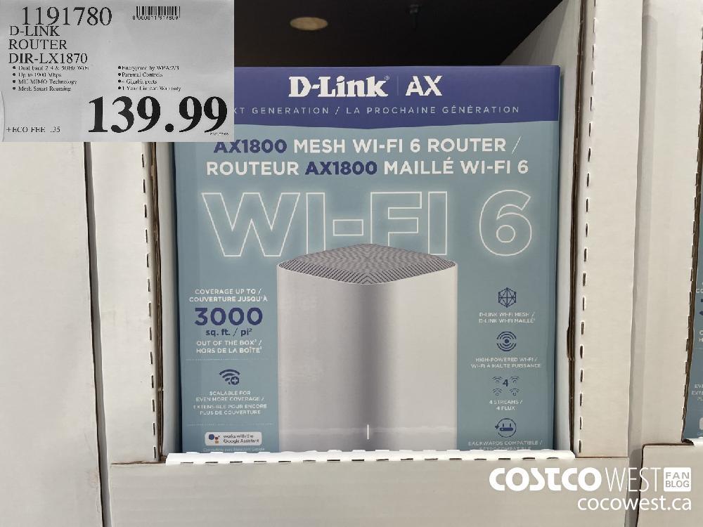 1191780 D-LINK ROUTER DIR-LX1870 $139.99