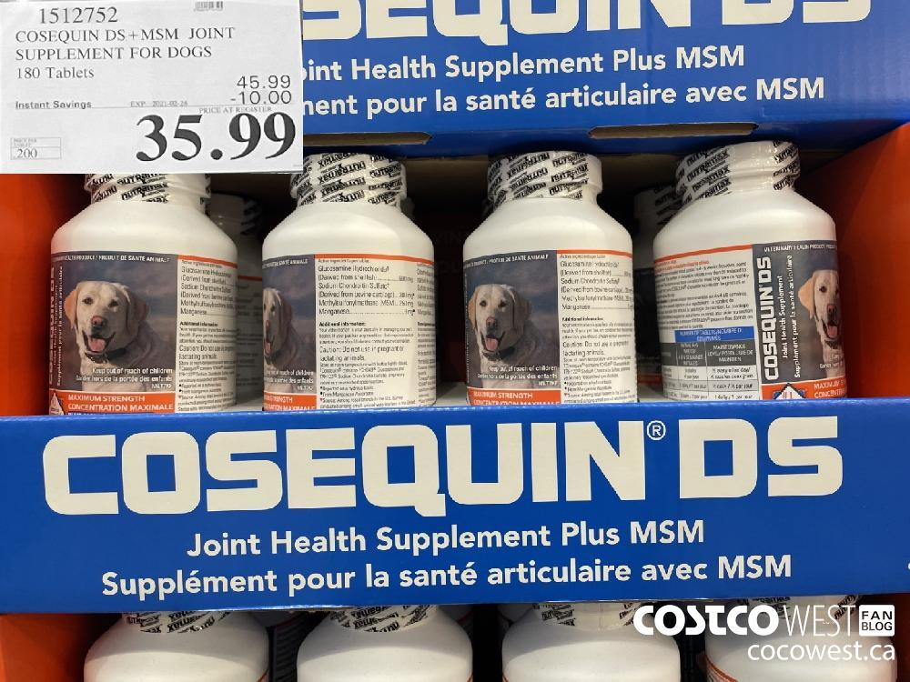 1512752 COSEQUIN DS MSM JOINT SUPPLEMENT FOR DOGS 180 Tablets EXPIRY DATE: 2021-02-28 $35.99