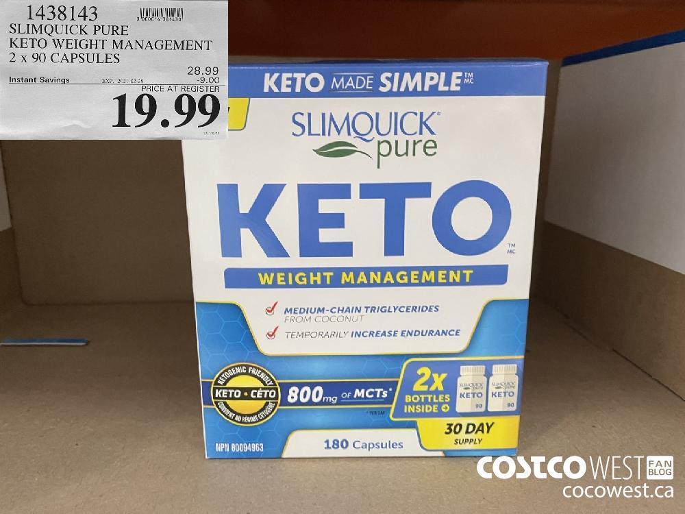 1438143 SLIMQUICK PURE KETO WEIGHT MANAGEMENT 2 x 90 CAPSULES EXPIRY DATE: 2021-02-28 $19.99