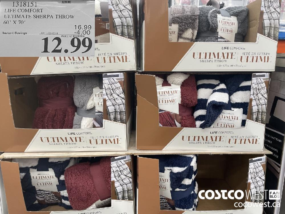 """1318151 LIFE COMFORT ULTIMATE SHERPA THROW 60"""" X 70"""" EXPIRY DATE: 2021-02-14 $12.99"""