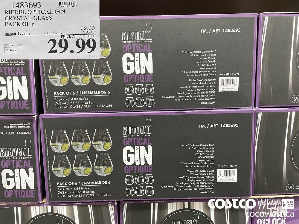 1483693 RIEDEL OPTICAL GIN CRYSTAL GLASS PACK OF 6 EXPIRY DATE: 2021-02-14 $29.99