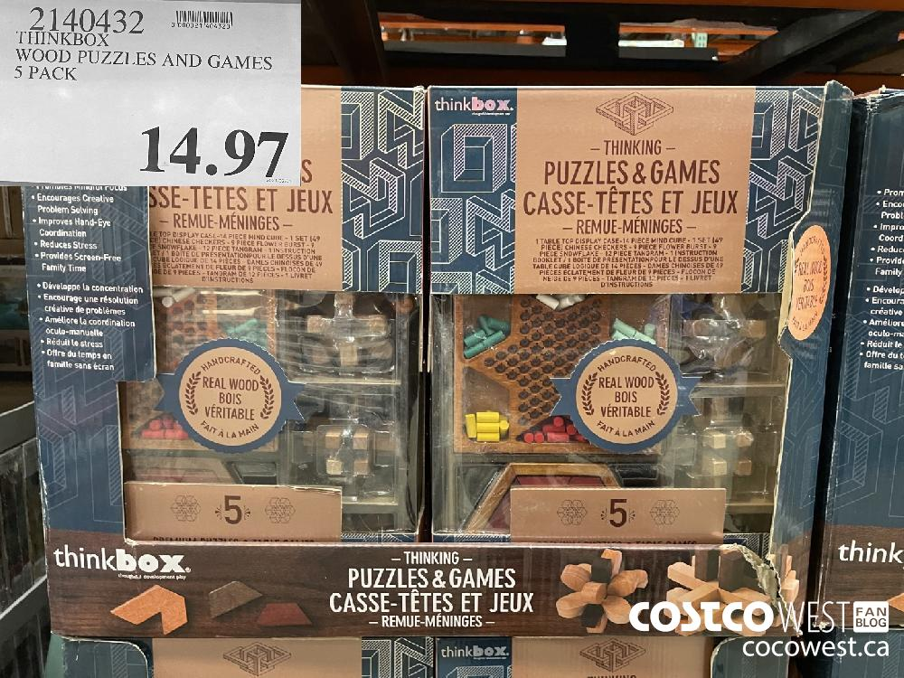 2140432 THINKBOX WOOD PUZZLES AND GAMES 5 PACK $14.97
