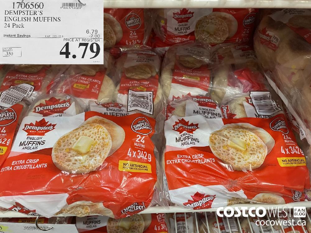 1706560 DEMPSTER'S ENGLISH MUFFINS 24 Pack EXPIRY DATE: 2021-02-14 $4.79