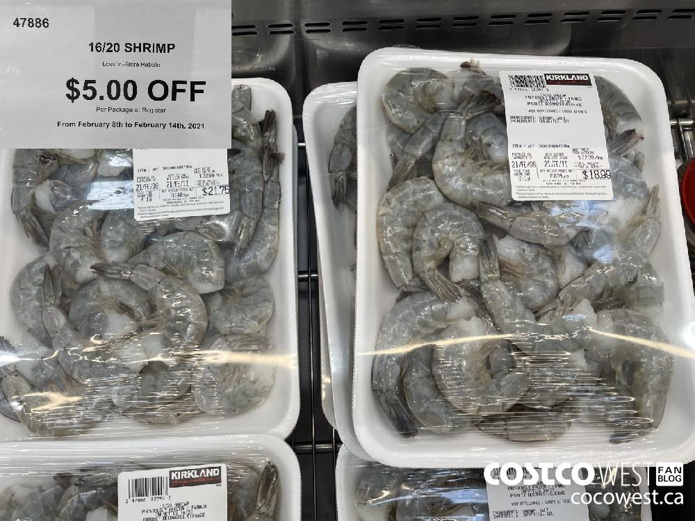47886 16/20 SHRIMP Less In-Store Rebate $5.00 OFF Per Package at Register From February 8th to February 14th 2021