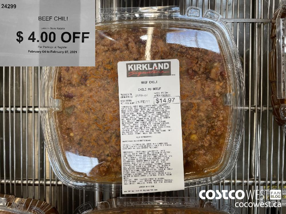 24299 BEEF CHILI Less In-Store Rebate 4 4.00 OFF Per Package at Register February 04 to February 07 2021