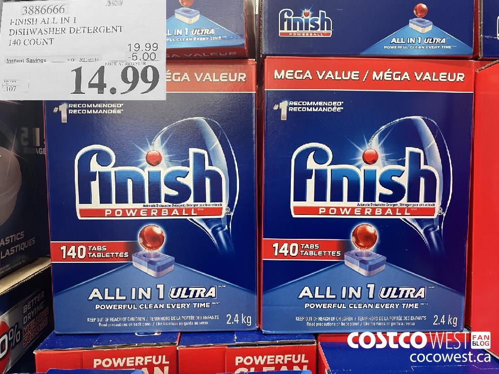 3886666 FINISH ALL IN 1 DISHWASHER DETERGENT 140 COUNT EXPIRY DATE: 2021-02-14 $14.99