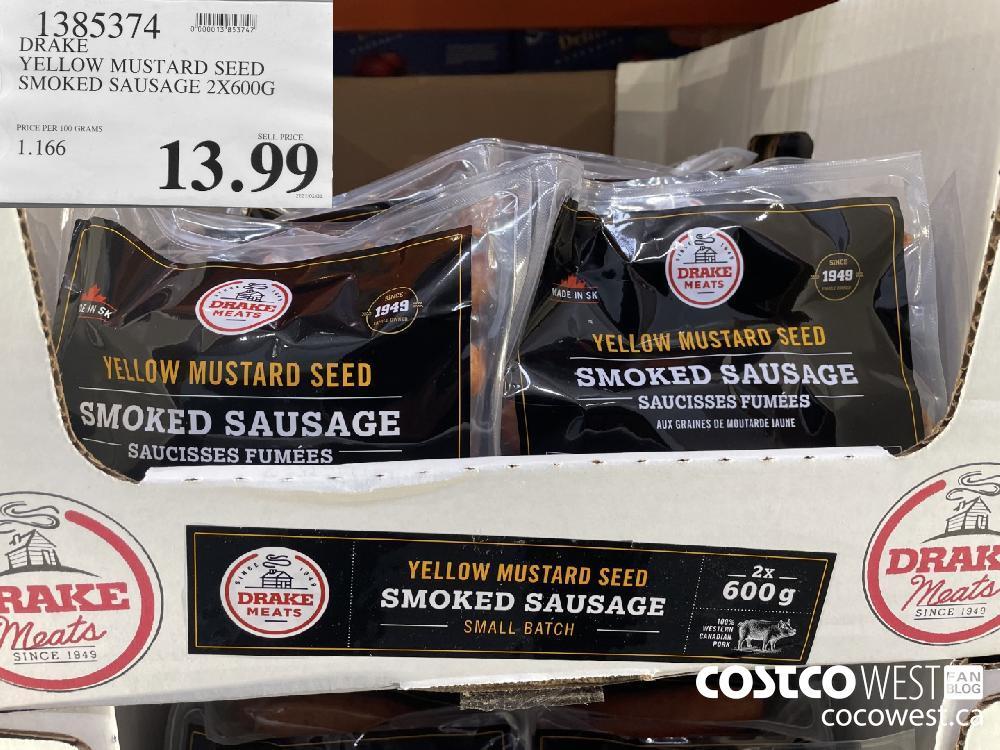 1385374 DRAKE YELLOW MUSTARD SEED SMOKED SAUSAGE 2X600G $13.99