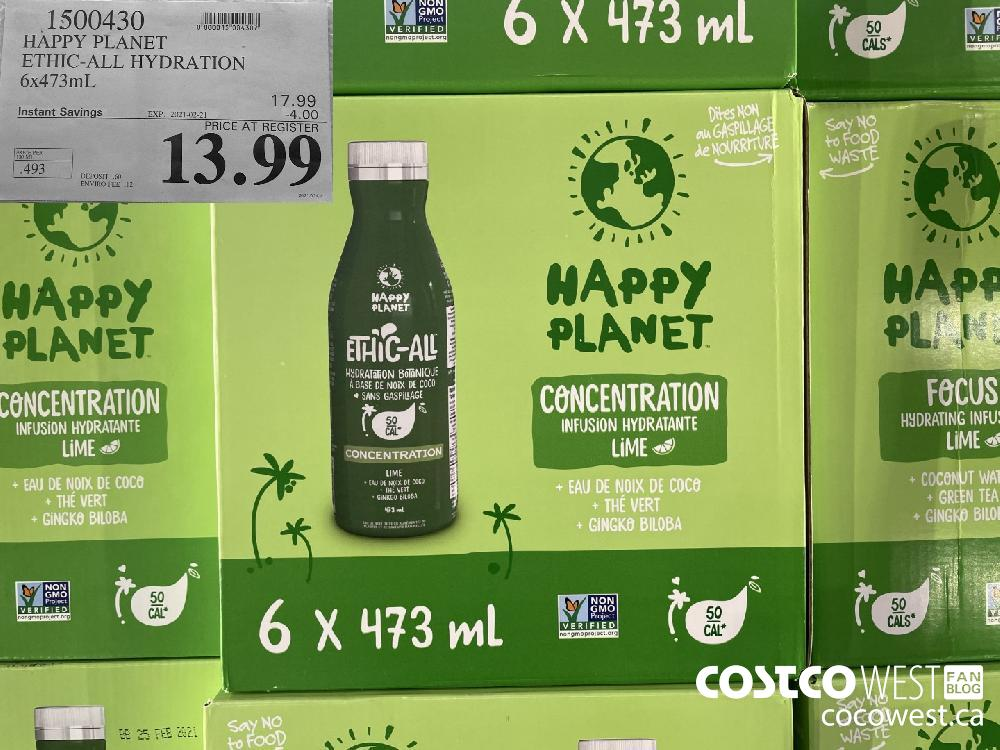 1500430 HAPPY PLANET ETHIC-ALL HYDRATION 6x473mL EXPIRY DATE: 2021-02-21 $13.99