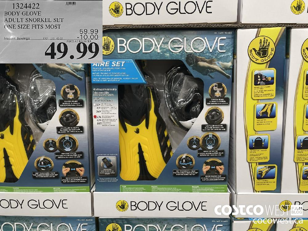 1324422 BODY GLOVE ADULT SNORKEL SET ONE SIZE FITS MOST EXPIRY DATE: 2021-02-22 $49.99