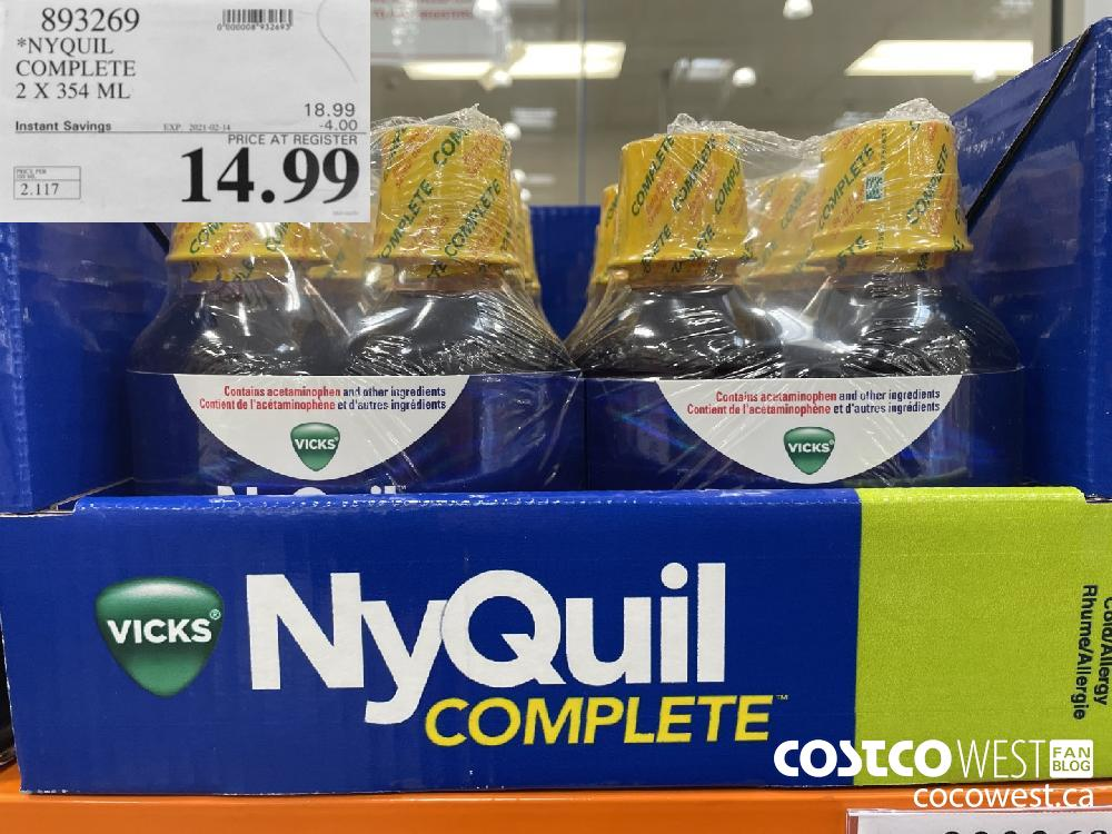 893269 NYQUIL COMPLETE 2 X 354 ML EXPIRY DATE: 2021-02-14 $14.99