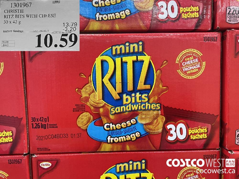 1301967 CHRISTIE RITZ BITS WITH CHEESE 30 x 42 g EXPIRY DATE: 2021-02-21 $10.59