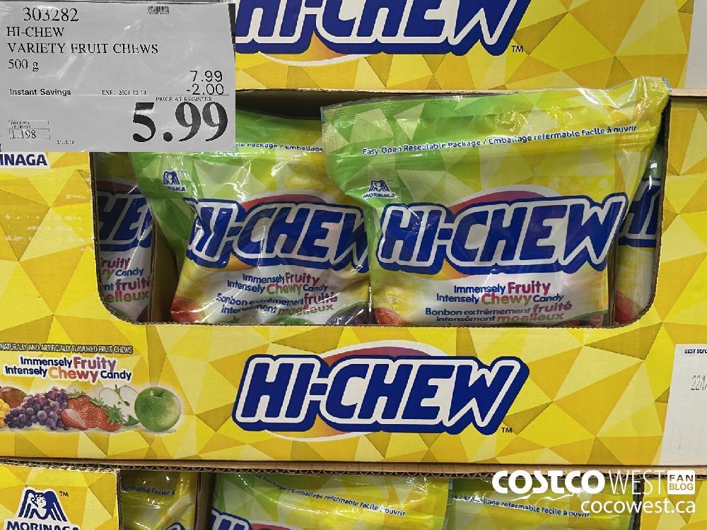 303222 HI-CHEW VARIETY FRUIT CHEWS 500 g EXPIRY DATE: 2021-02-14 $5.99
