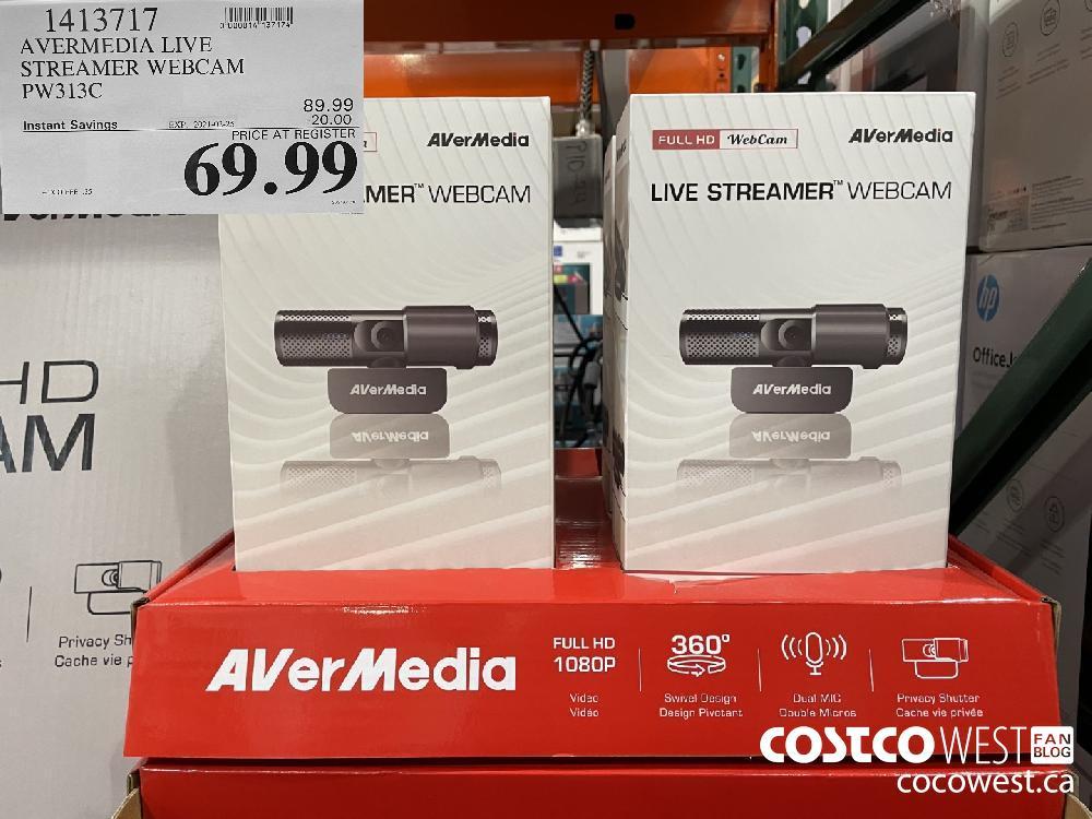 1413717 AVERMEDIA LIVE STREAMER WEBCAM PW313C EXPIRY DATE: 2021-02-25 $69.99