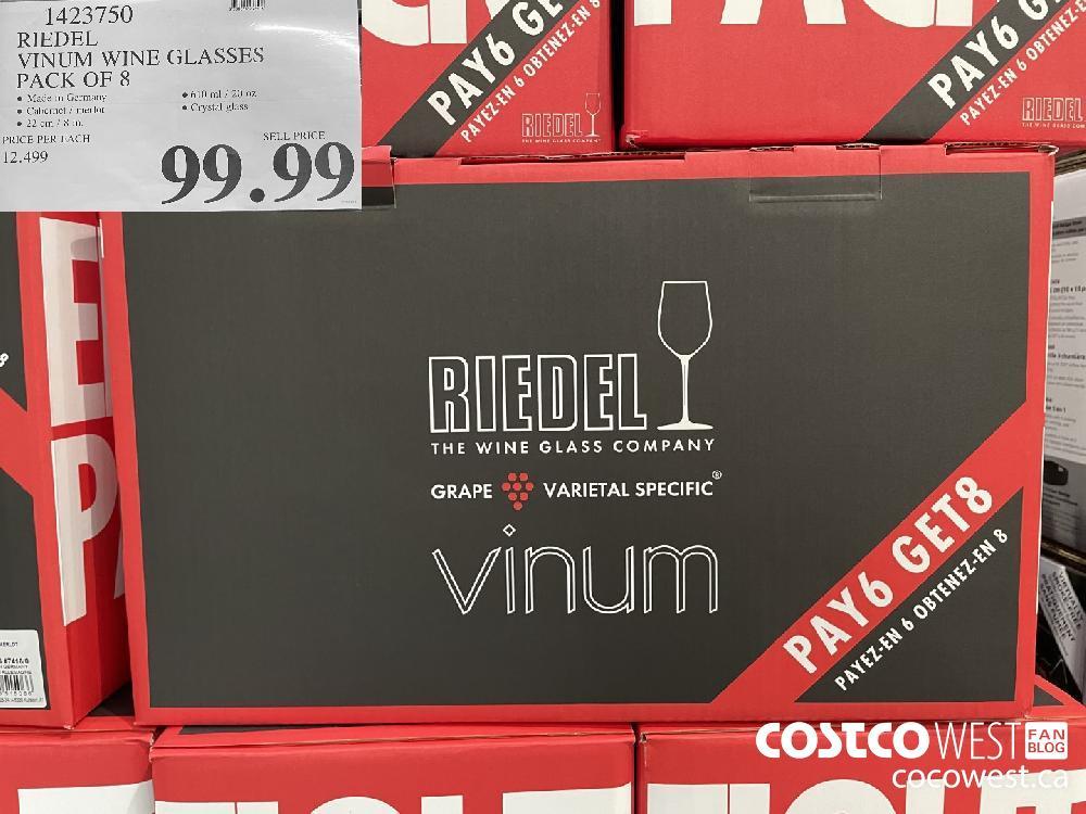 1423750 RIEDEL VINUM WINE GLASSES PACK OF 8 $99.99