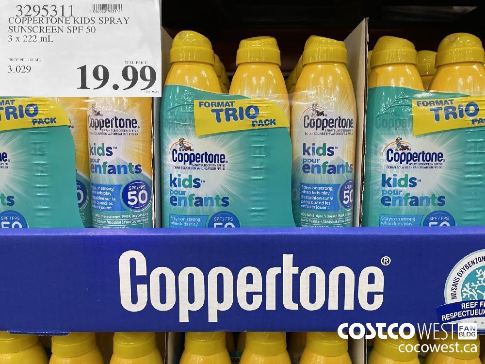 3795311 COPPERTONE KIDS SPRAY SUNSCREEN SPF 50 3 X 222 mL $19.99