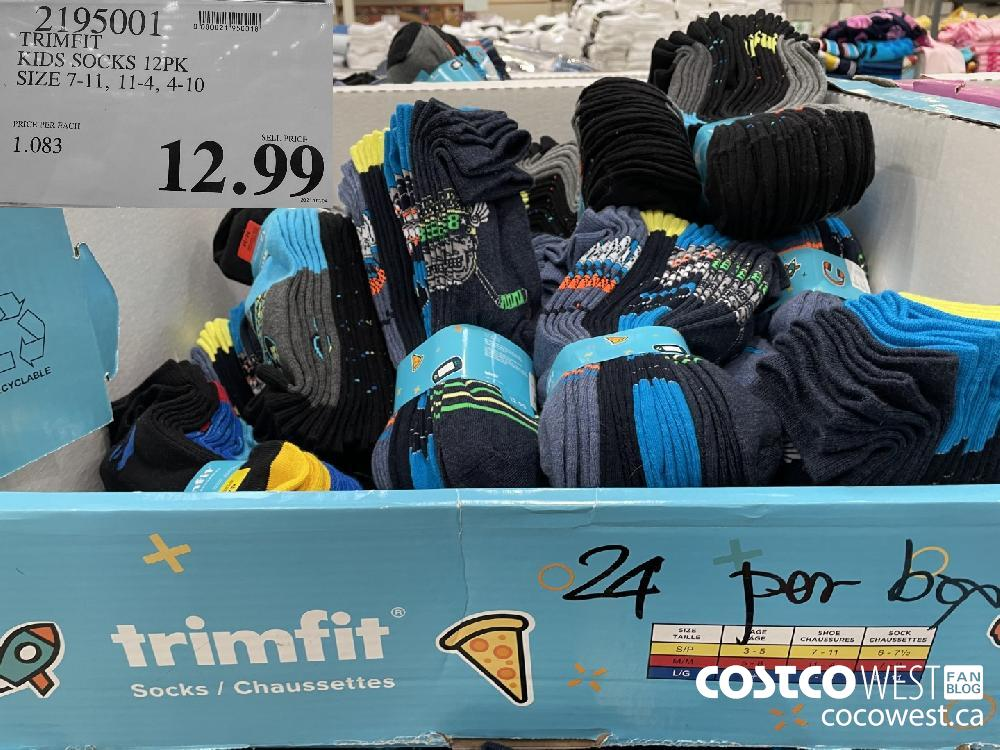 2195001 TRIMFIT KIDS SOCKS 12PK SIZE 7-11 11-4 4-10 $12.99