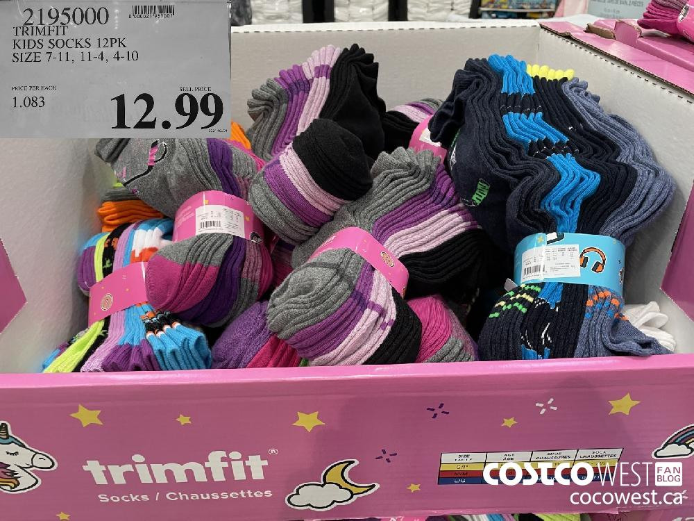 2195000 TRIMFIT KIDS SOCKS 12PK SIZE 7-11 11-4 4-10 $12.99