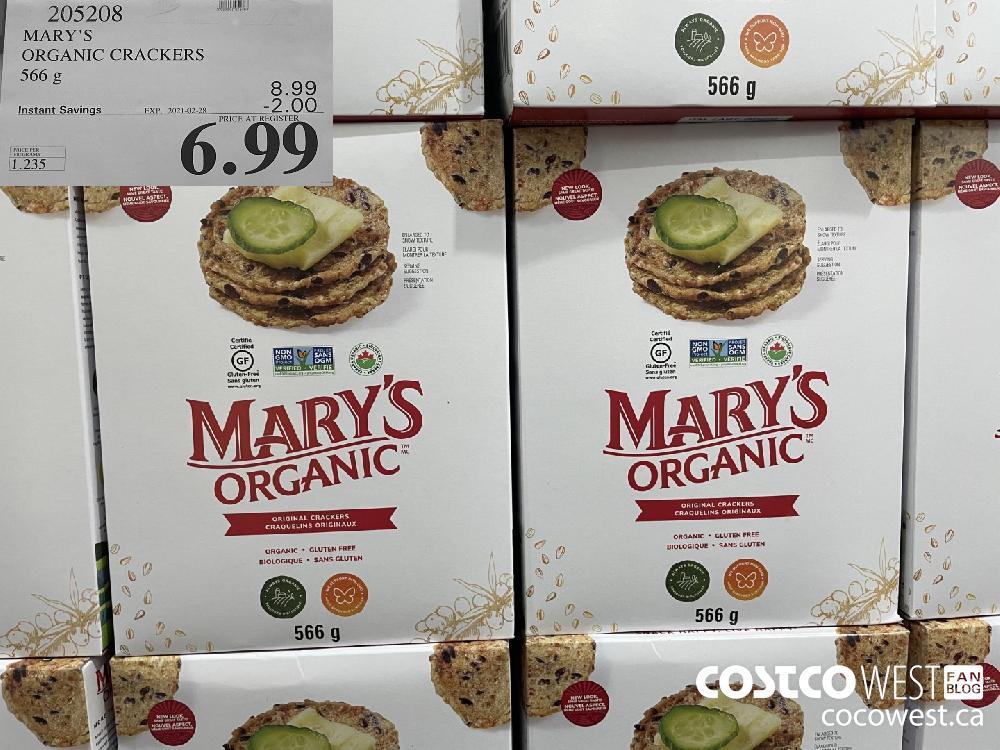 205208 MARY'S ORGANIC CRACKERS 566 g EXPIRY DATE: 2021-02-28 $6.99