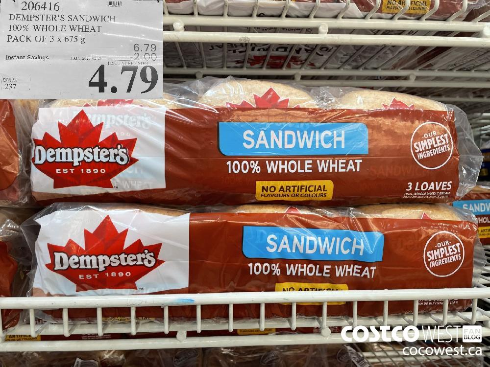 206416 DEMPSTER'S SANDWICH 100% WHOLE WHEAT PACK OF 3 x 675 g EXPIRY DATE: 2021-02-28 $4.79
