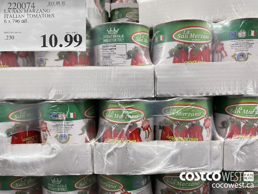 990074 LA SAN MARZANO ITALIAN TOMATOES 6 x 796 mL $10.99