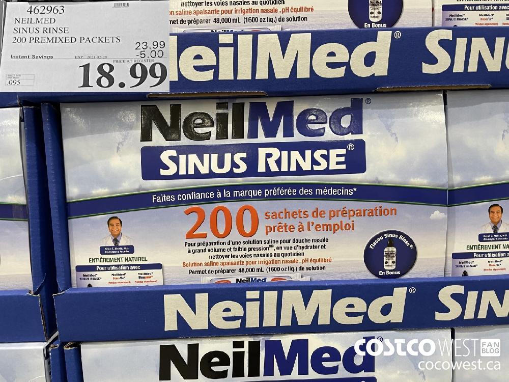 462963 NEILMED SINUS RINSE 200 PREMIXED PACKETS EXPIRY DATE: 2021-02-28 $18.99