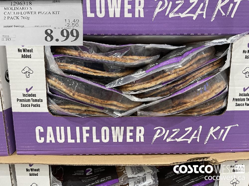 1296318 MOLINARO'S CAULIFLOWER PIZZA KIT 2 PACK 760g EXPIRY DATE: 2021-02-28 $8.99