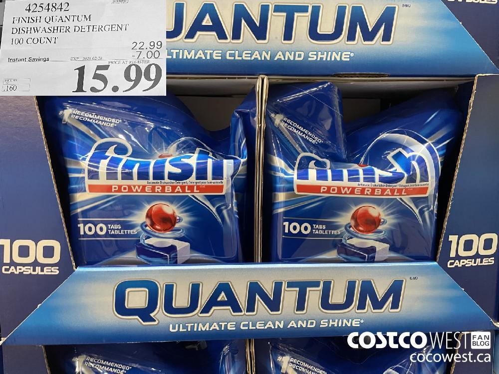 4254842 FINISH QUANTUM DISHWASHER DETERGENT 100 COUNT EXPIRY DATE: 2021-02-28 $15.99