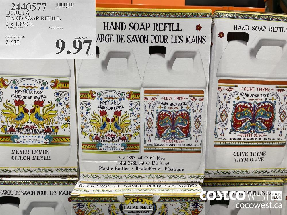 2440577 DERUTA HAND SOAP REFILL 2 x 1.893 L $9.97