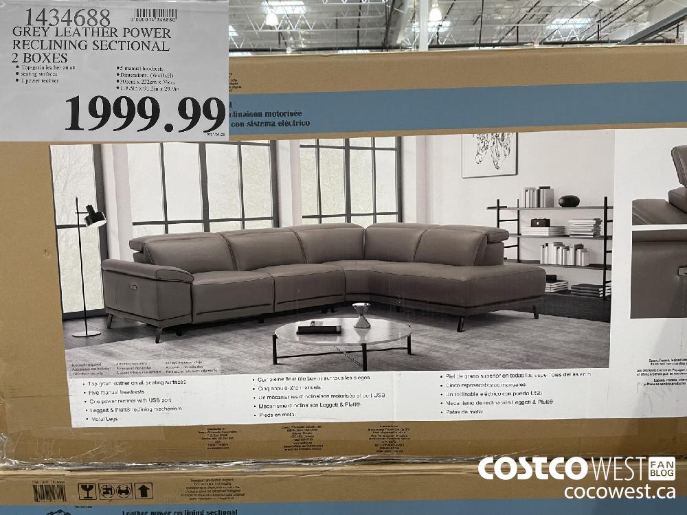 1434688 GREY LEATHER POWER RECLINING SECTIONAL 2 BOXES $1999.99