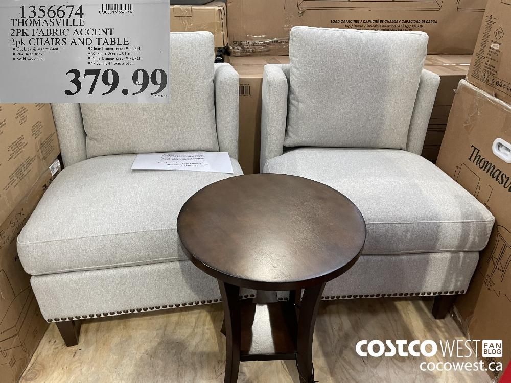 1356674 THOMASVILLE 2PK FABRIC ACCENT 2pk CHAIRS AND TABLE $379.99