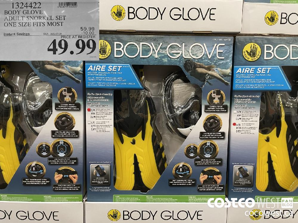 1324422 BODY GLOVE ADULT SNORKEL SET ONE SIZE FITS MOST EXPIRY DATE: 2021-02-28 $49.99