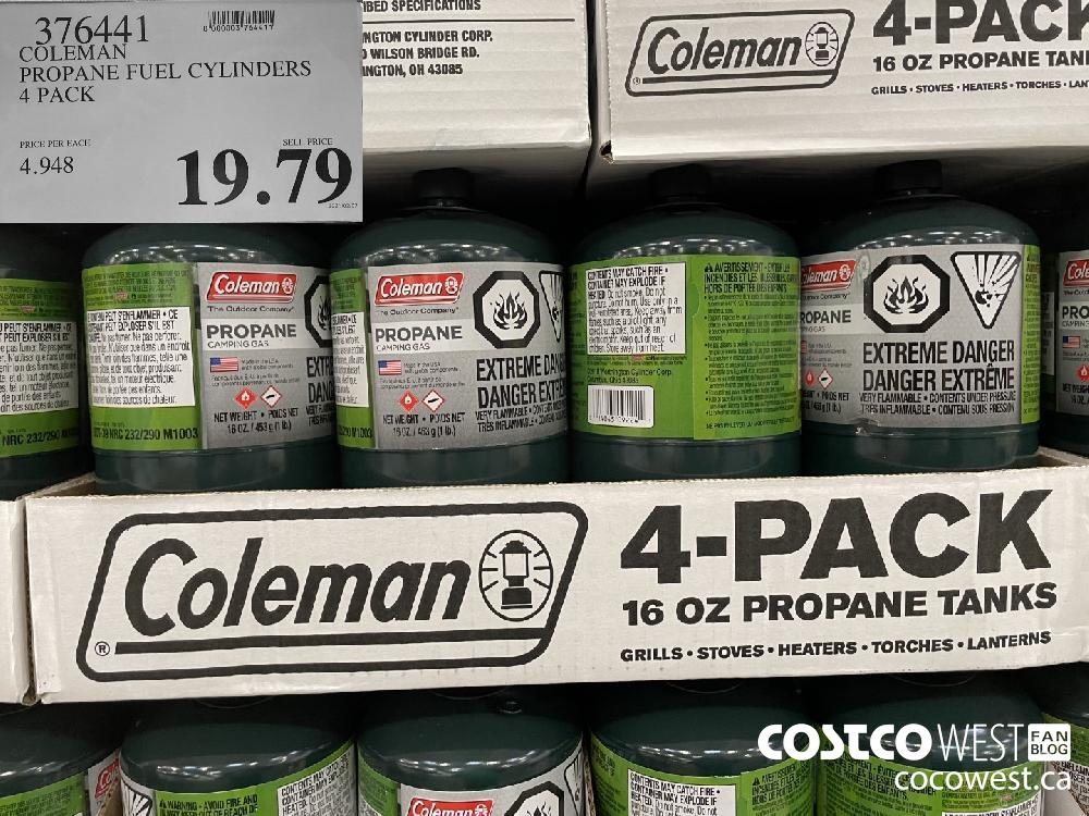 376441 COLEMAN PROPANE FUEL CYLINDERS 4 PACK $19.79