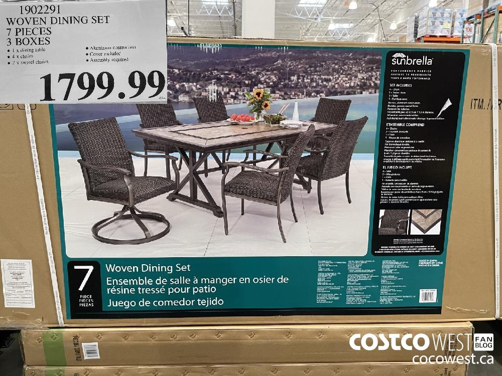 1902291 WOVEN DINING SET PIRCES 3 BOXES $1799.99