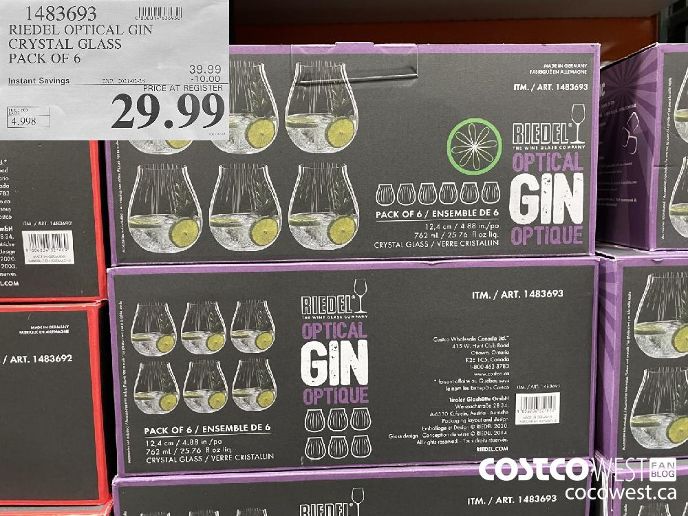 1483693 RIEDEL OPTICAL GIN CRYSTAL GLASS PACK OF 6 EXPIRY DATE: 2021-02-28 $29.99