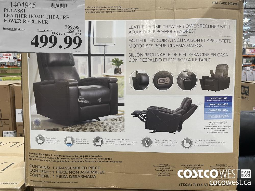 1404945 PULASKI LEATHER HOME THEATRE POWER RECLINER EXPIRY DATE: 2021-02-28 $499.99