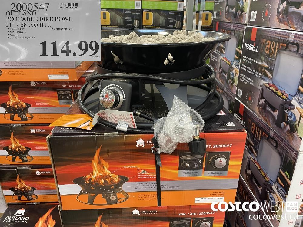 "2000547 OUTLAND PORTABLE FIRE BOWL 21"" / 58 000 BTU $114.99"