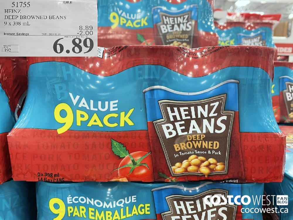 51755 HEINZ DEEP BROWNED BEANS 9 x 398 mL EXPIRY DATE: 2021-03-14 $6.89