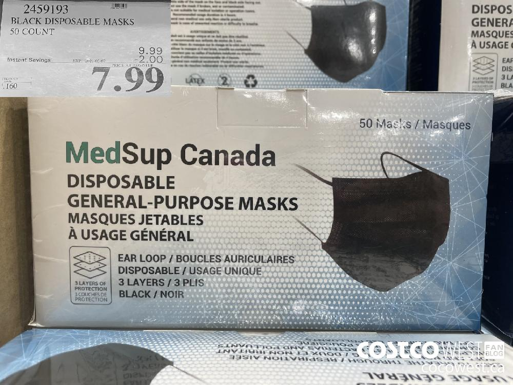 2459193 BLACK DISPOSABLE MASKS 50 COUNT EXPIRY DATE: 2021-03-07 $7.99